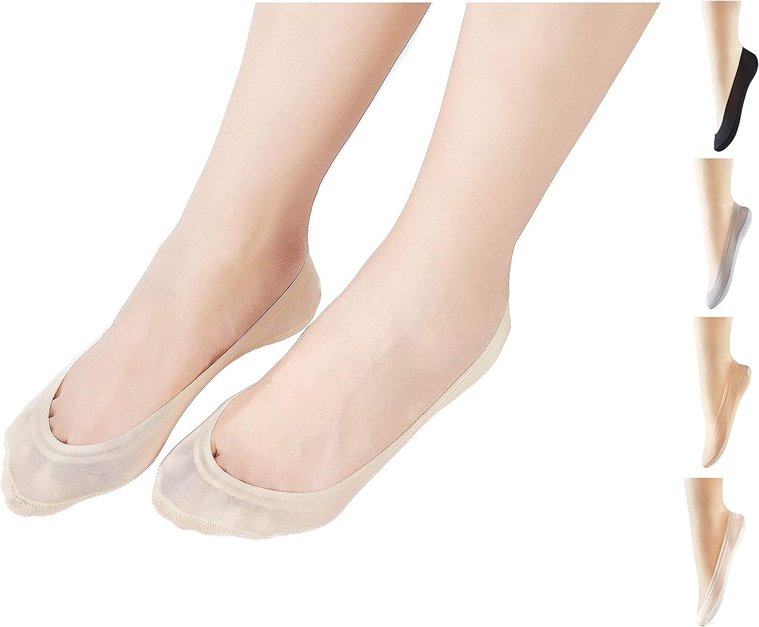 6 Pairs Ladies Girls Cotton Rich Invisible Socks Liners Black or White All Sizes
