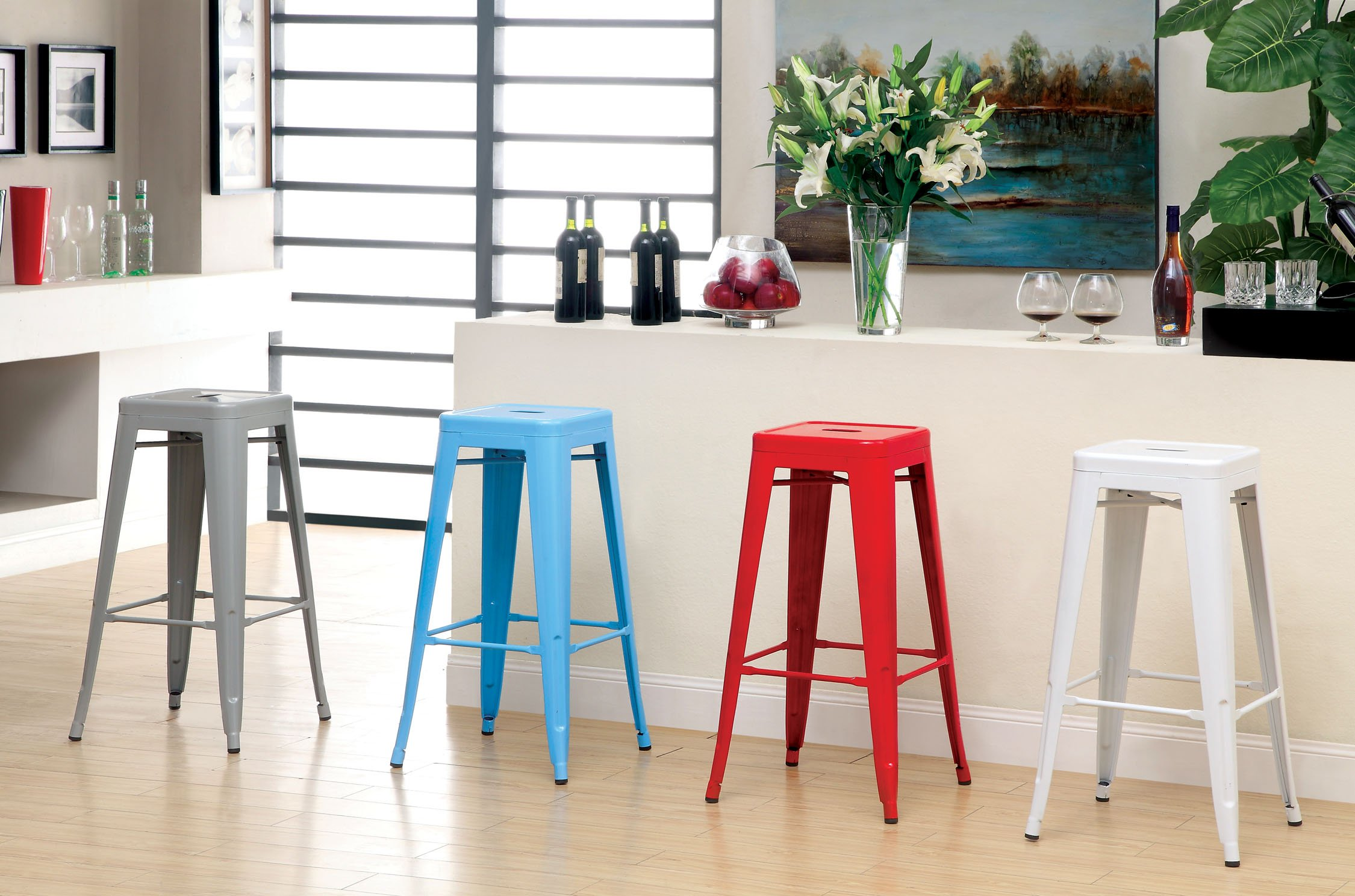 Furniture of America Karthe Modern Steel Stool, Blue, Set of 2 by Furniture of America