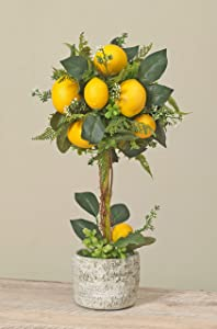 19 Inch Artificial Potted Lemon Topiary Tree in Ceramic Pot