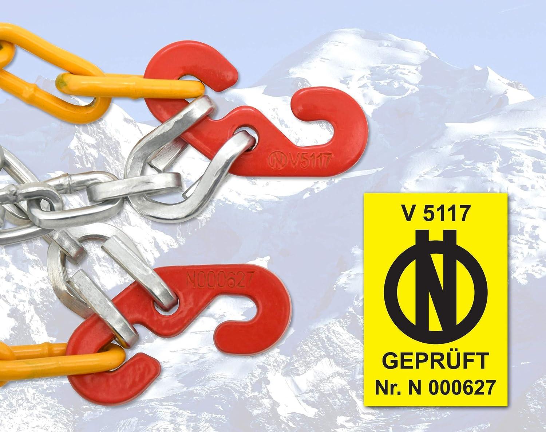 1 Paar T/ÜV gepr/üft 110 Compass Schneeketten Snow 12mm f/ür Reifen 215//60 R16 /ÖNORM Extra Stark