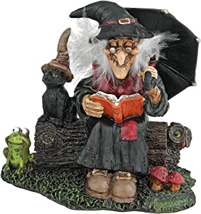 Design Toscano Book of Spells Bewitching Witch Halloween Decor Figurine Statue, 4 Inch, Polyresin, Full Color