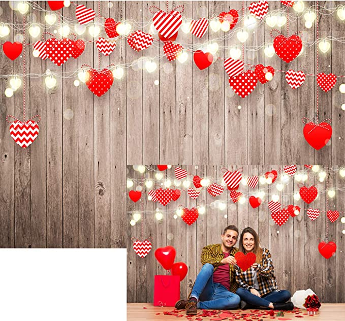 Allenjoy 8x6ft Fabric Valentines Day Backdrop Red Hearts Balloons Love Theme Party Supplies for Engagement Wedding Bridal Shower Photography Background Studio Portrait Pictures Shoot Props Favors