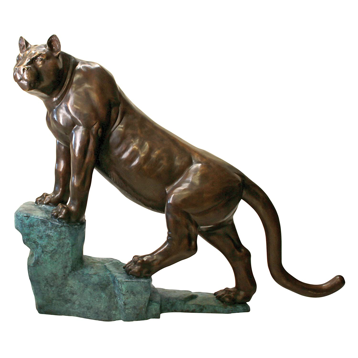 Design Toscano Cougar On A Rock Cast Bronze Garden Statue