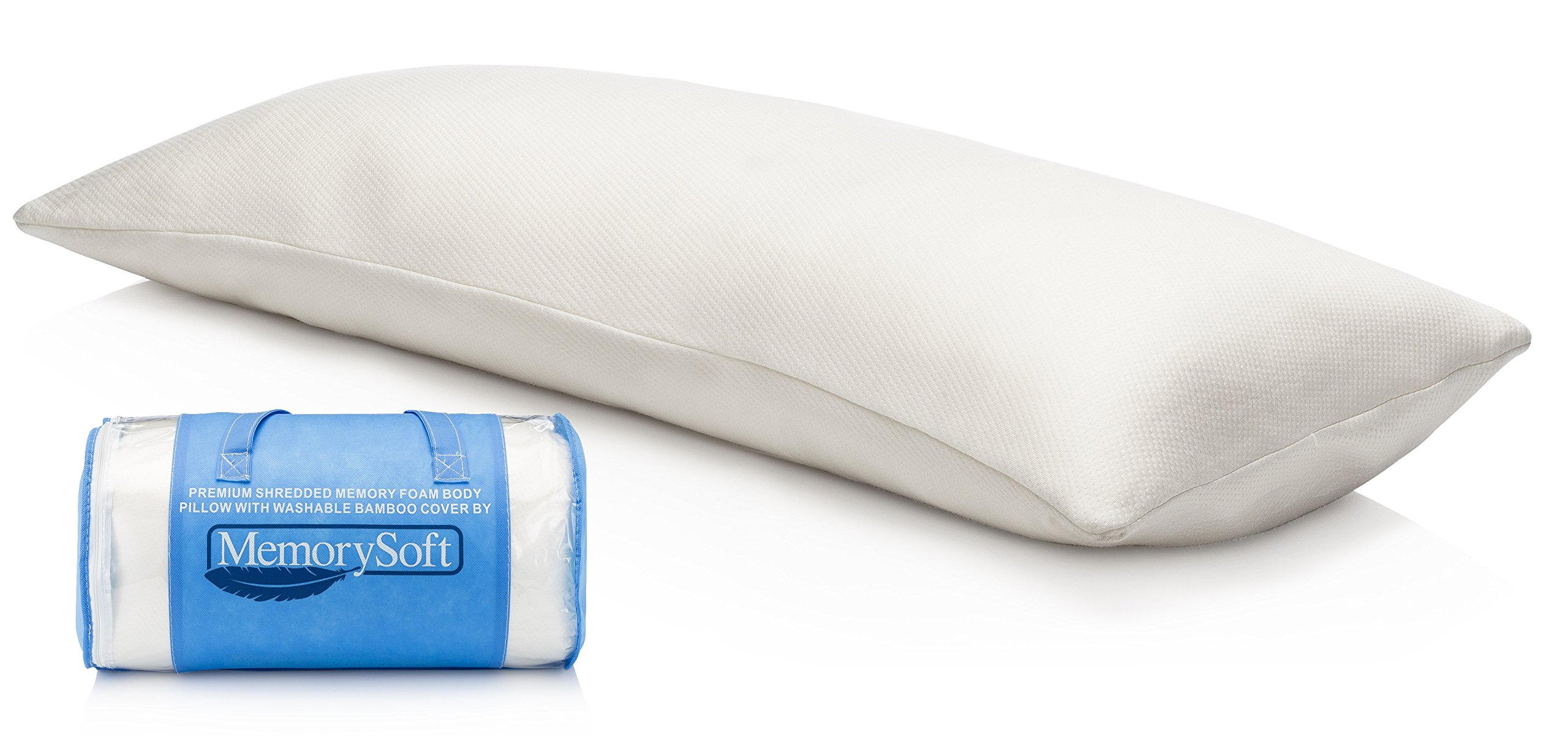 MemorySoft Luxury Memory Foam Body Pillow By, Shredded Memory Foam With Thin Memory Foam Shell - Washable, Hypoallergenic and Cool Bamboo Case