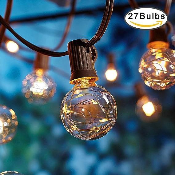 OFUN Outdoor Garden String Lights, 25ft G40 Globe String Lights, UL ...