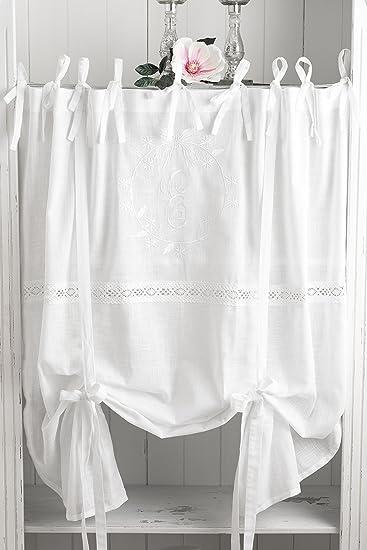 Amazon.de: Elvira weiss bestickt Raffgardine 160x120cm Gardine ...