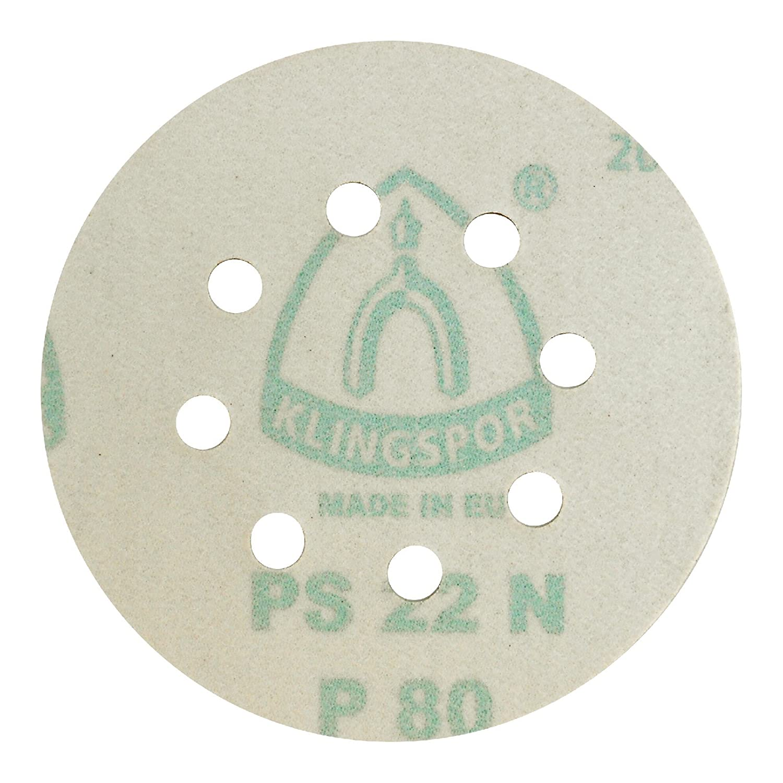 gemischte K/örnungen /Ø 125 mm GLS 5 | 80-teiliges Premium-Set Klingspor PS 22 K Schleifscheibe 8 Loch
