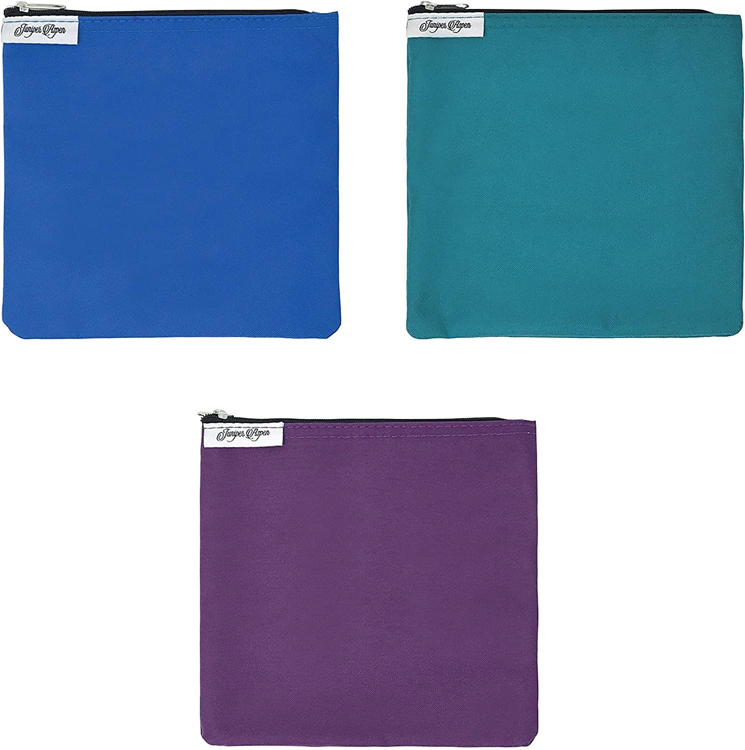 Reusable Sandwich Bags Blue, Turquoise, Purple: 3 Pack of Large Fabric Snack Baggies with Zipper, Food Safe, Dishwasher Safe Fabric Bag Set, Eco Friendly