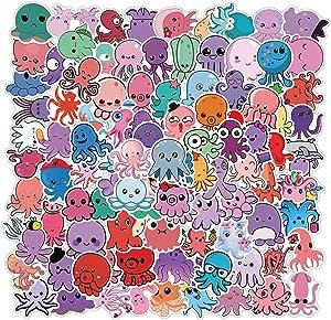 [FOCUS's Stickers]100Pcs Cute Cartoon Octopus Stickers for Laptop Cellphone Water Bottle Hydro Flask Skateboard Luggage Car Bumper, etc FJHSL