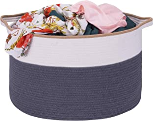 15.8 x 10.2 KHORE Cotton Rope Storage Baskets With Handles Soft Durable Laundry Baskets Toy Storage Nursery Bins Home Decorations Blanket Woven basket 15.8 x 10.2