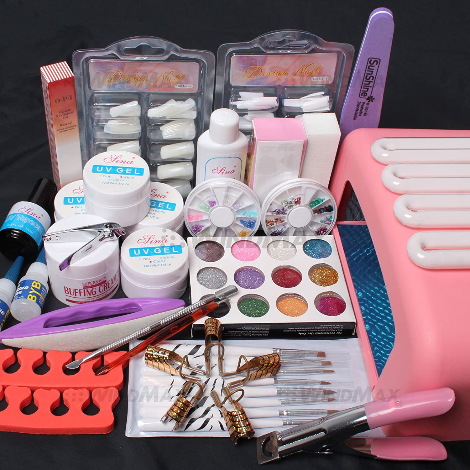 USPS Shiping~ Hot sale Nail Art Tips UV Builder Gel Brush 36W Timer Dryer Lamp Decorations Kit