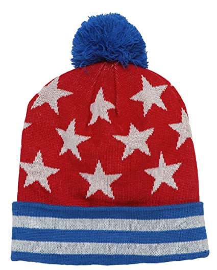 6d9f7d71e TOP HEADWEAR Stars and Stripes Beanie w/Pom - Red/White/Blue at ...