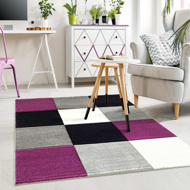 VIMODA Moderner Designer Teppich Kariert Hoch Tief Strukturen Lila Grau Weiß Schwarz Maße  200x290 cm