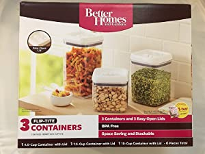 Better Homes and Gardens 3 Container Flip-Tite Containers, White