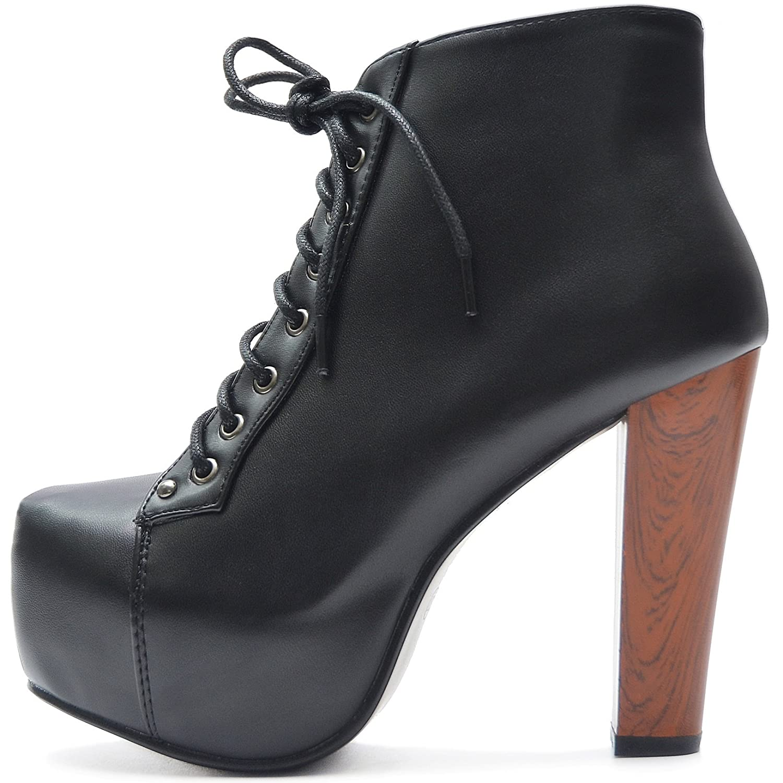 Vain Secrets Plateau Boots Stiefeletten mit Absatz in Holz Optik  38 EU|Schwarz