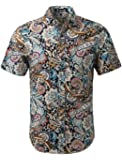 uxcell Men Slim Fit Floral Print Short Sleeve Button Down Beach Hawaiian Casual Shirt