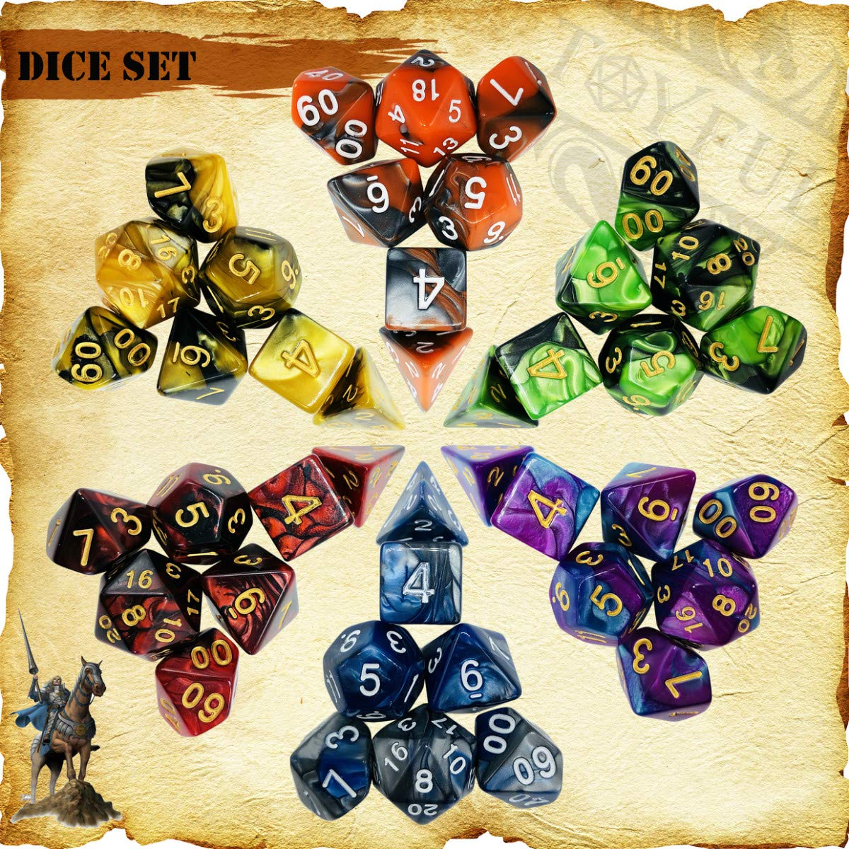 TOYFUL 6 Sets Double-Colors Dnd Dice Polyhedral Dungeons and Dragons DND RPG MTG Table Game Dice Bulk with Seven FREE Drawstring Bags and D&D Dice Tower Gift Package Black by TOYFUL (Image #3)