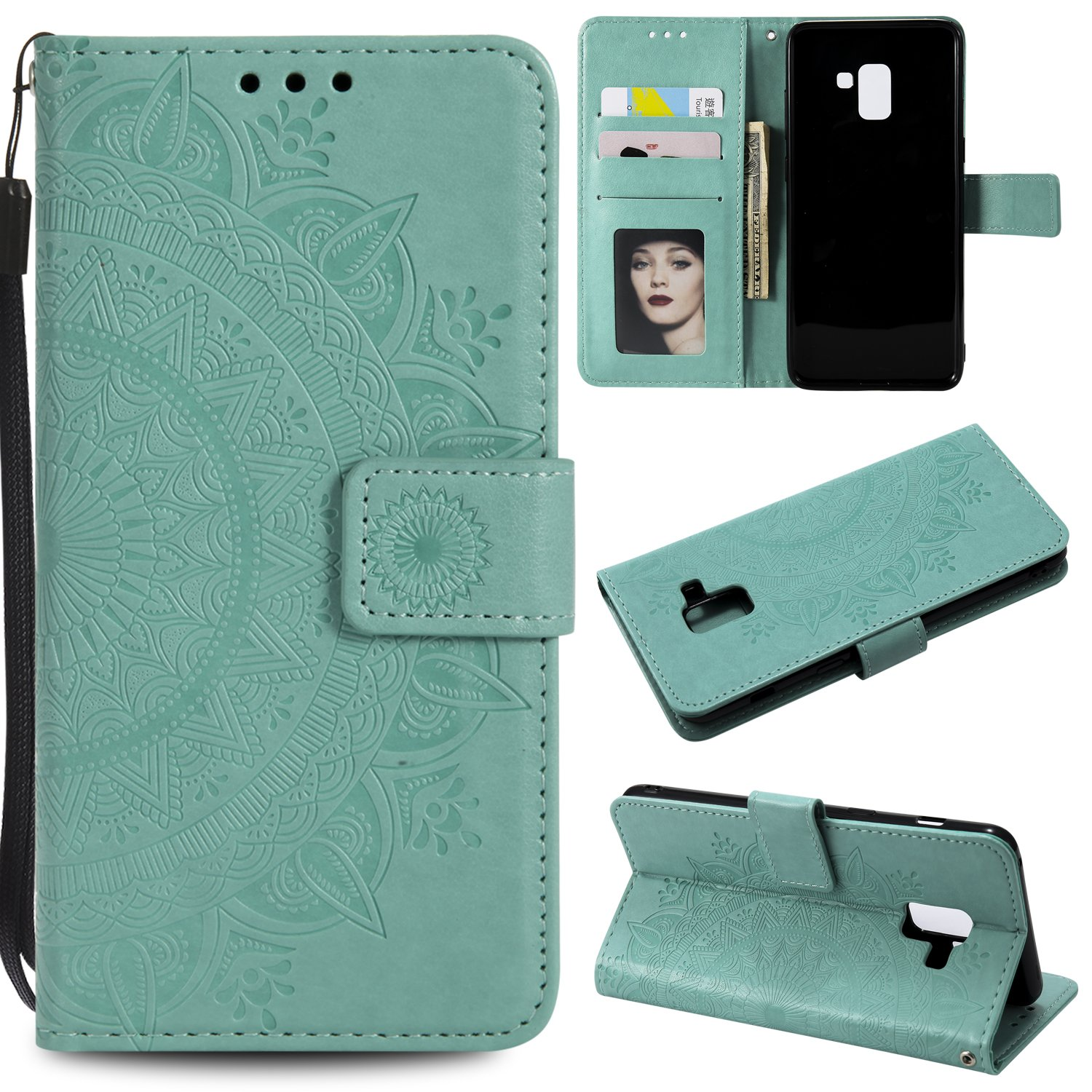 Galaxy A8 2018 Floral Wallet Case,Galaxy A8 2018 Strap Flip Case,Leecase Embossed Totem Flower Design Pu Leather Bookstyle Stand Flip Case for Samsung Galaxy A8 2018-Green