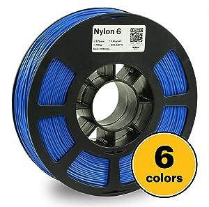 KODAK 3D printer filament NYLON 6 BLUE color, +/- 0.03 mm, 750g (1.6lbs) Spool, 1.75 mm. Lowest moisture premium filament in Vacuum Sealed Aluminum Ziploc bag. Fit Most FDM Printers