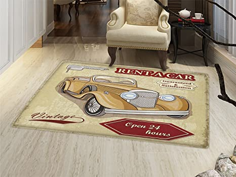 Amazon Com Smallbeefly Cars Door Mat Outside Vintage Car Rentals