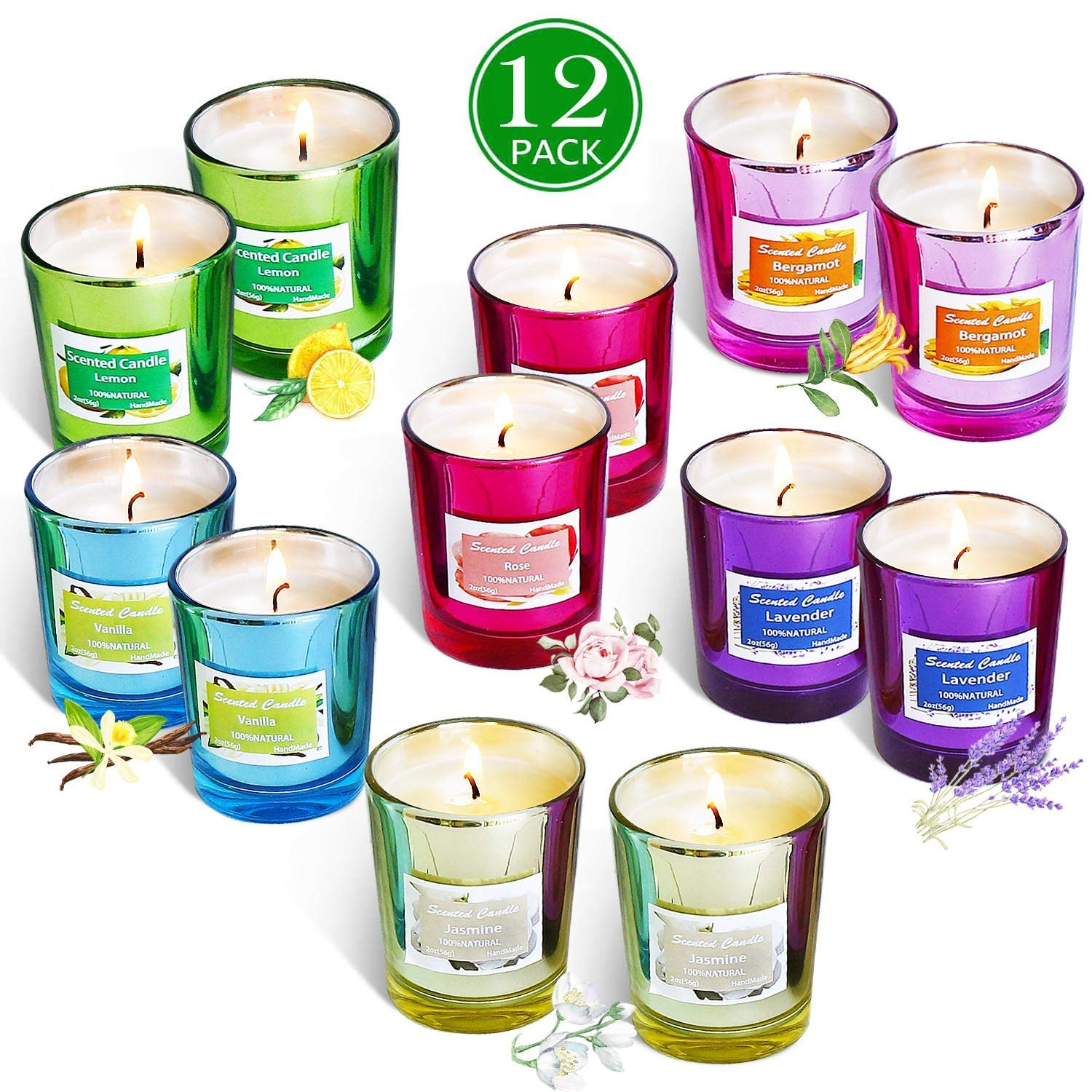 Addbeaut Scented Candles Gift Set, Natural Soy Wax 2 Oz Per Cup Portable Glass Candles Women Gift with Strongly Fragrance Essential Oils for Stress Relief and Aromatherapy - 12 Pack