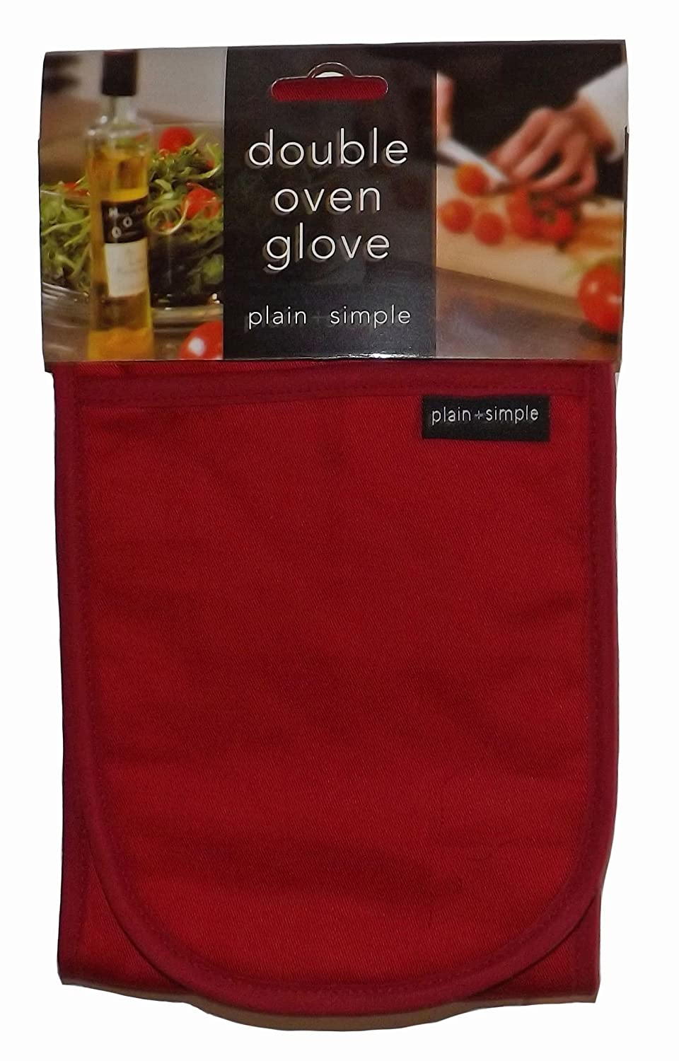 KITCHEN ACCESSORIES PLAIN RED (CHILLI PEPPER RED) COTTON BLEND DOUBLE OVEN GLOVE 4 Your Home