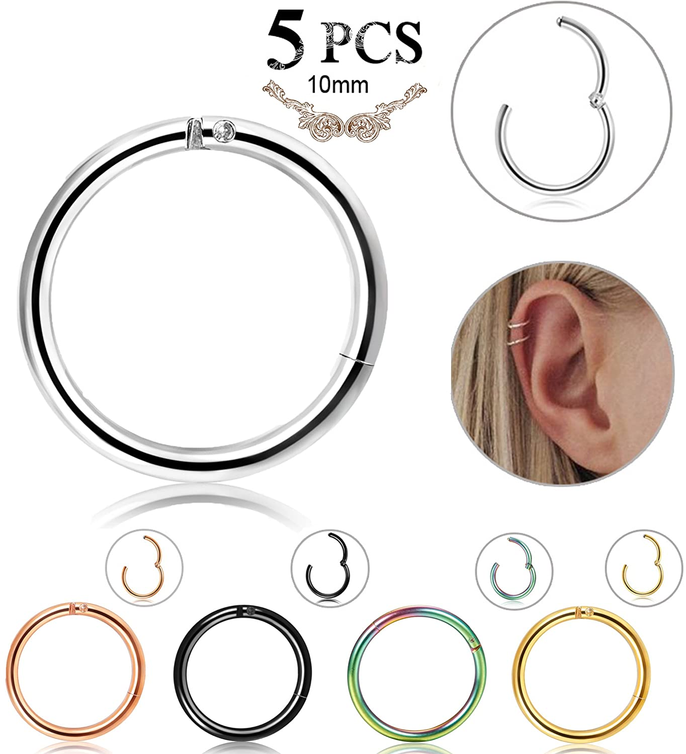 LOLIAS 5 Pcs 16g Stainless Steel Cartilage Earrings for Men Women Nose Hoop Ring Helix Septum Couch Daith Lip Tragus Piercing Jewelry L-CPC-SE5-8