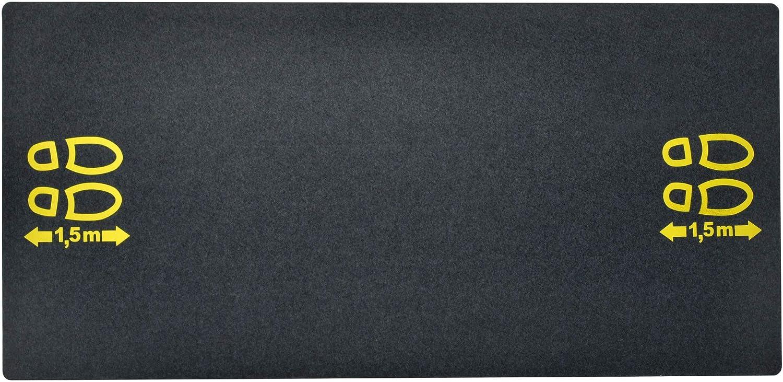 """schmutzabweisend acerto 40628 Bodenschutzmatte mit Hinweis /""""1,5m Abstand/"""" aus recyceltem Gummi 180x80cm rutschfest wasserdicht schwarz"""