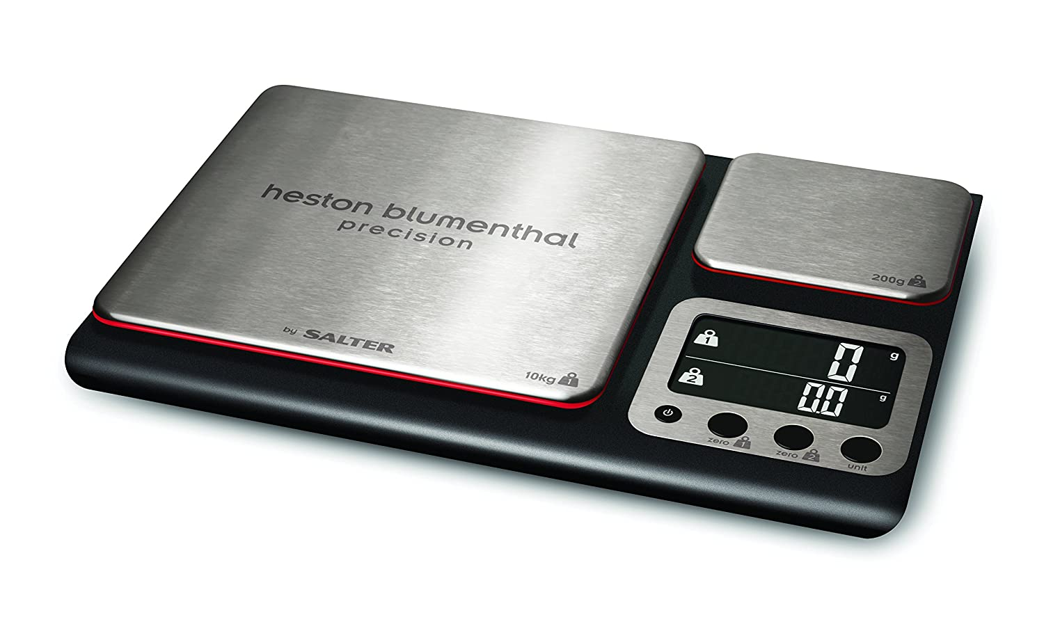 Heston Blumenthal Dual Platform Precision Scale by Salter, High Capacity 10kg and Ultimate Recipe Accuracy 200g Platforms, Stylish Kitchen Accessory with Digital Display, Measure in Metric and Imperial Weight and Volume for Liquids with Aquatronic Feature