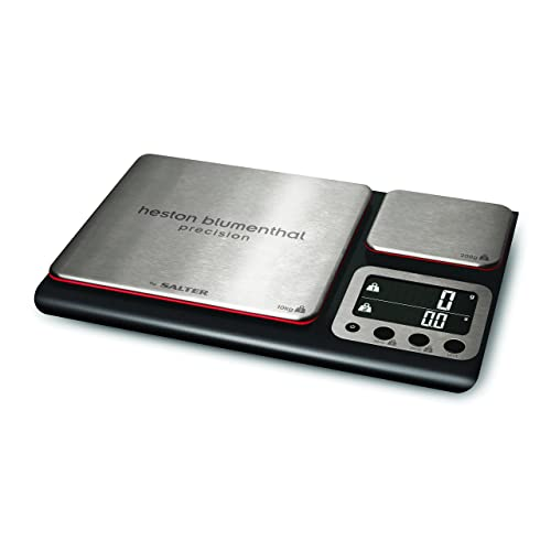 Heston Blumenthal Dual Platform Precision Scale by Salter, High Capacity 10kg and Ultimate Recipe Accuracy 200g Platforms, Stylish Kitchen Accessory with Digital Display, Measure in Metric and Imperial Weight and Volume for Liquids with Aquatronic Feature - Black