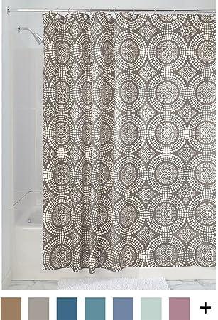InterDesign Medallion Fabric Shower Curtain Long 72 X 84 White Taupe