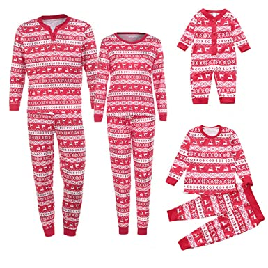e698baec78 UPXIANG Christmas Pajamas Family Matching PJS Sets for The Family Deer  Sleepwear Outfits Two Piece Clothing