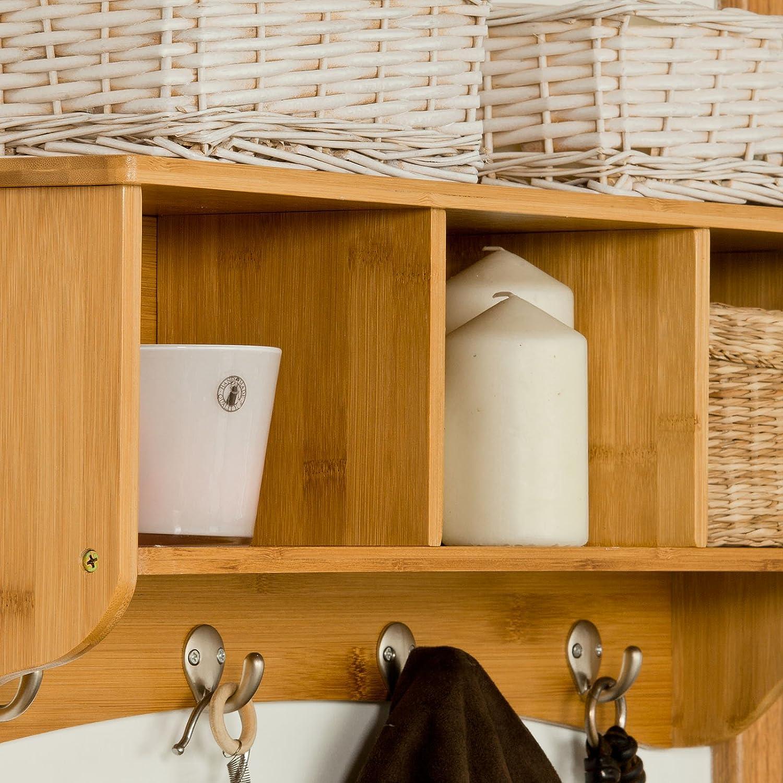 SoBuy® Estantes de pared de bambù, Armario suspendido, Estanteria para trasteros, FRG48-N(L61* P15.5* A23cm).ES