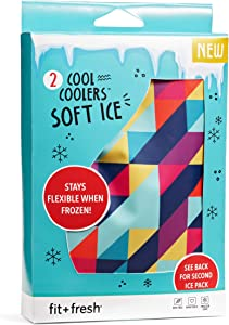 "Fit & Fresh Soft Cool, Set of 2 Flexible Ice Packs Boxes, Lunch Bags and Coolers, 5"" x 7"" x 0.25"", Multi Prism Geo & Cobalt"