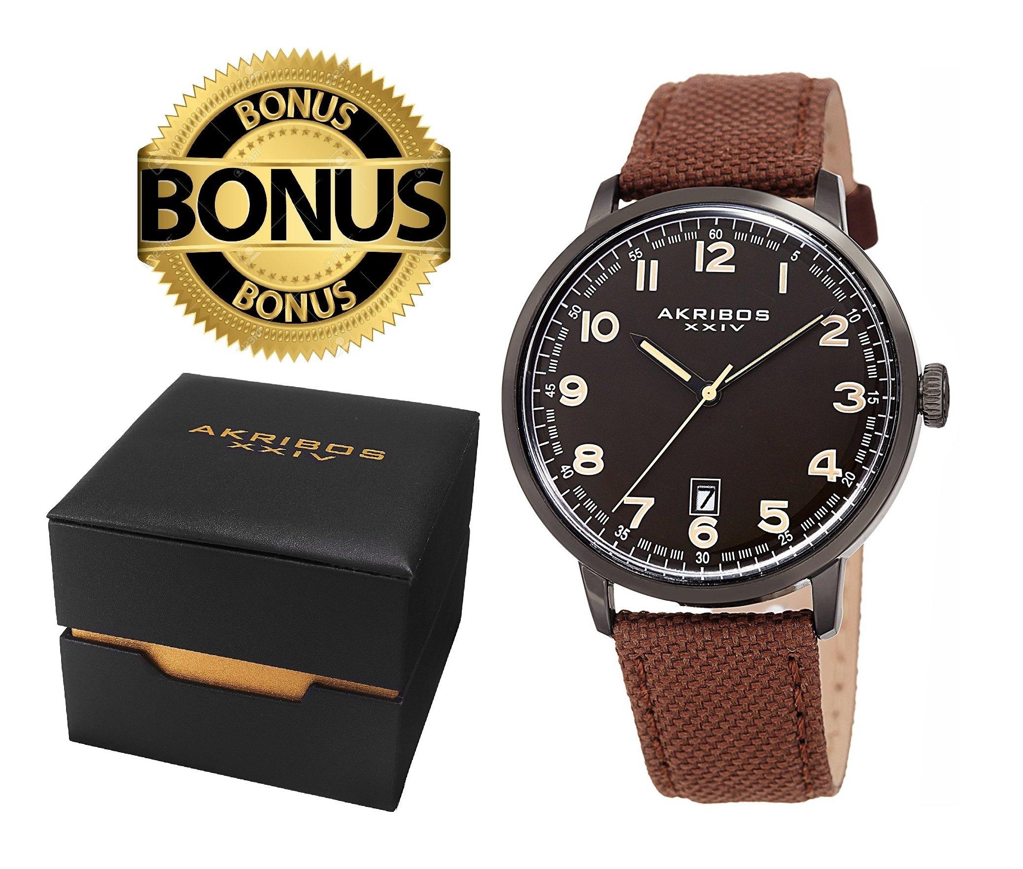 Akribos XXIV Men's AK1025BKBR Black & Brown Canvas Leather Strap Watch