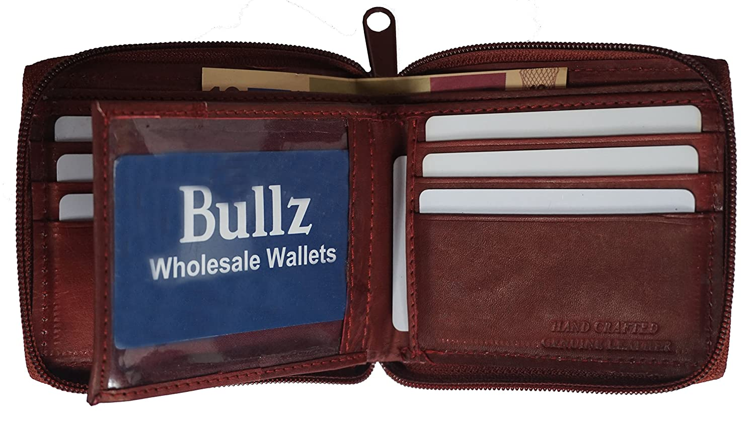 Mens Zip Around Bifold Wallet Safe and Secure Zipper Genuine Leather