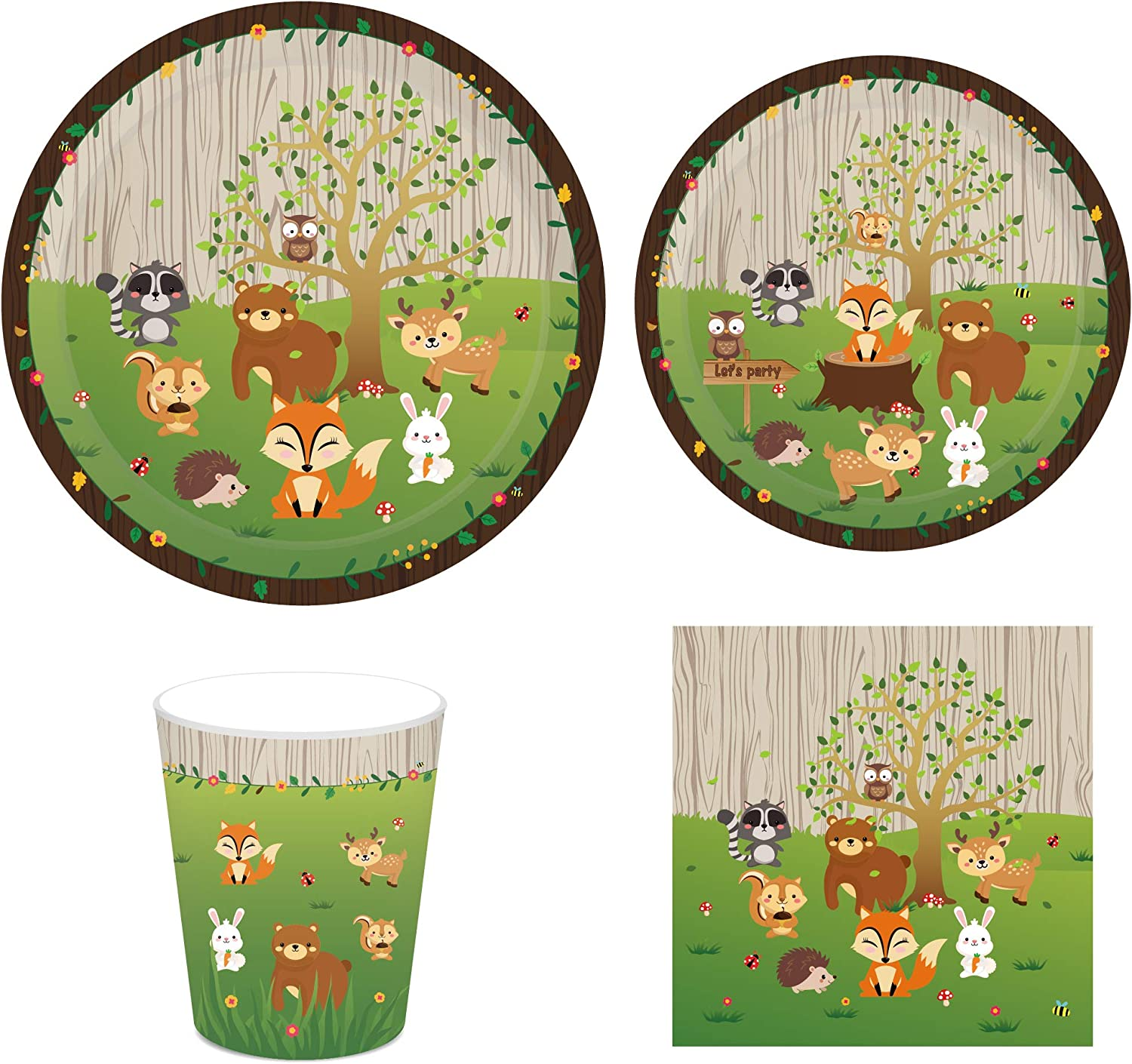CC HOME Woodland Creature Animal Party Supplies Pack-- Serves 16 - Includes Paper Plates, Napkins, and Cups ,Camping Party Supplies,Forest Animal Friends Tableware ,Bundle ,Party Favor