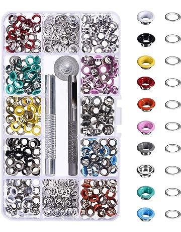300 Piezas Kit de Ojetes Ojales de Metal Artesanía de Zapatos Ropa, 10 Colores (