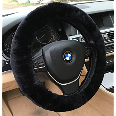 ANDALUS Car Steering Wheel Cover, Fluffy Pure Australia Sheepskin Wool, Universal 15 inch (Black): Automotive
