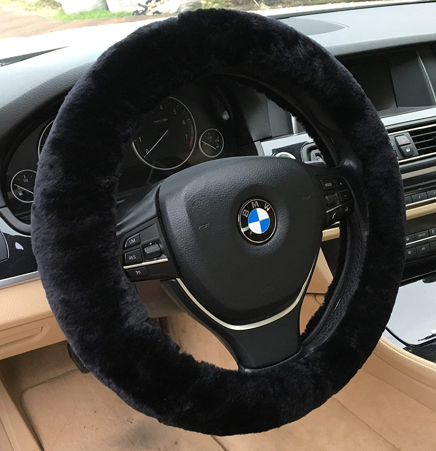 Alusbell Cute Carbon Fiber Steering Wheel Cover Synthetic Leather Auto Car Steering Wheel Cover for Women Universal Fit 15 Inch Hot Pink
