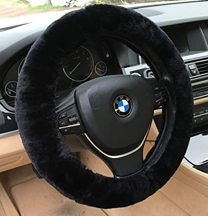 amazon com andalus car steering wheel cover, fluffy pure australiaamazon com andalus car steering wheel cover, fluffy pure australia sheepskin wool, universal 15 inch (black) automotive