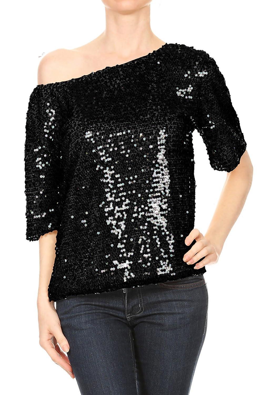TALLA M. Anna-Kaci Mujer Lentejuela Brillante del Bordado del Cordón Chaleco T Shirt Blusas Camisas Tops