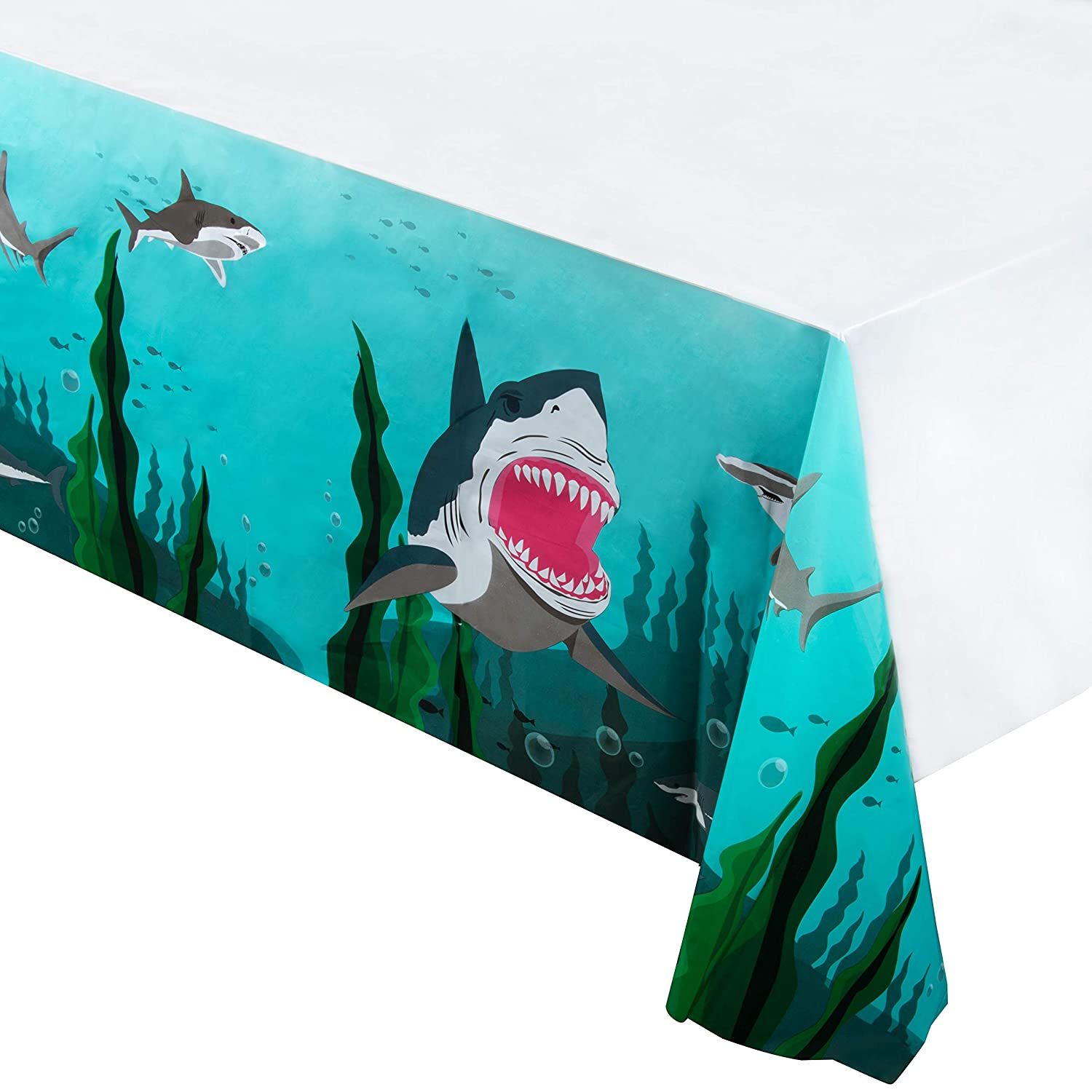 Shark Plastic Tablecloth - 3-Pack 54 x 108-Inch Rectangular Disposable Table Cover, Ocean Theme Party Supplies for Birthdays, Shark Week Events, Cyan Blue, 4.5 x 9 Feet