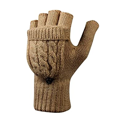 cd664ec3be217e LHZY Frauen Damen Winter Warm Fingerlose Strick Handschuhe mit Flip Top:  Amazon.de: Bekleidung