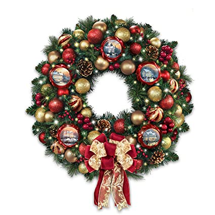 thomas kinkade season of splendor lighted christmas wreath bradford exchange by the bradford exchange