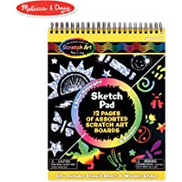 Melissa & Doug Scratch Art Sketch Pad With 12 Scratch-Art Boards and Wooden Stylus