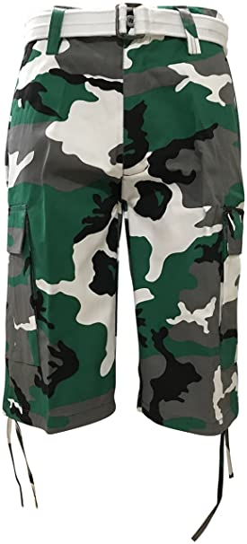 c2086a64d8ca5 Regal Wear Mens Camouflage Cargo Shorts with Belt, Camo Green, 34