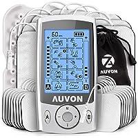 AUVON Dual Channel TENS Unit Muscle Stimulator with Huge Pack of 24 Pcs Reusable TENS Unit Electrode Pads