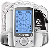 AUVON Dual Channel TENS Unit Muscle Stimulator (Family Pack), 20 Modes Rechargeable TENS Machine with Huge Pack of 24…