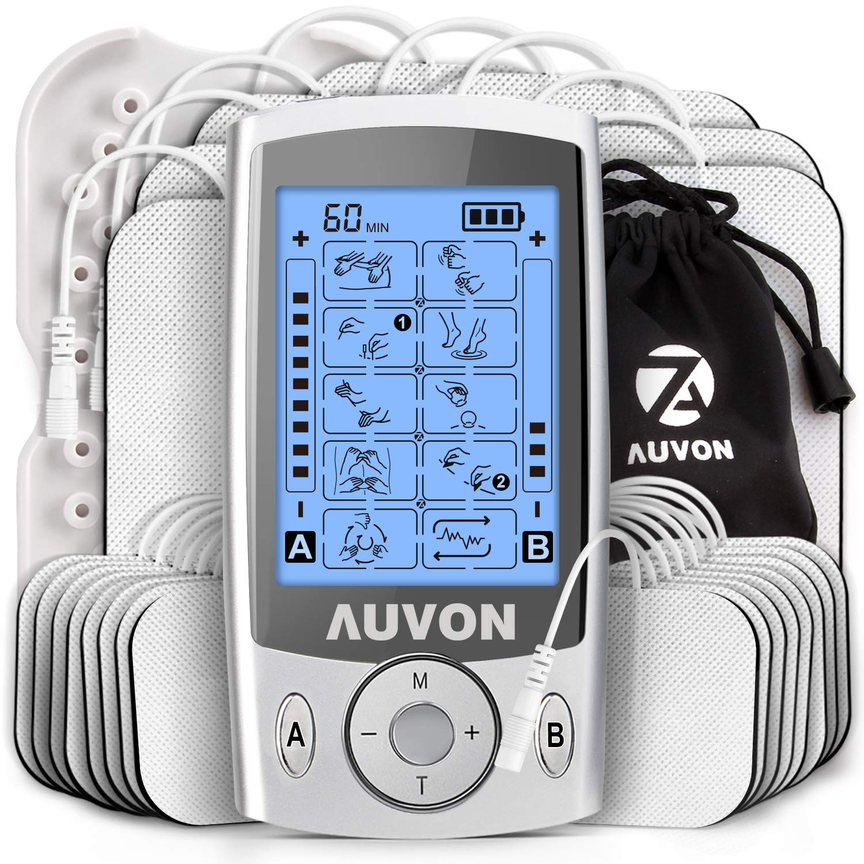 AUVON Dual Channel TENS Unit Muscle Stimulator (Family Pack), 20 Modes Rechargeable TENS Machine with Huge Pack of 24 Pcs Reusable TENS Unit Electrode Pads (2''x2'' 16pcs, 2''x4'' 8pcs) by AUVON